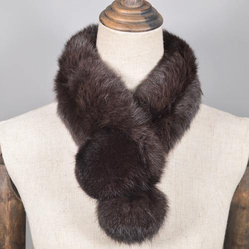 Real Rabbit Fur Scarf 100% Genuine Rabbit Fur Warm Soft Neckerchief Lady Handmade Real Rabbit Fur Ring Scarves