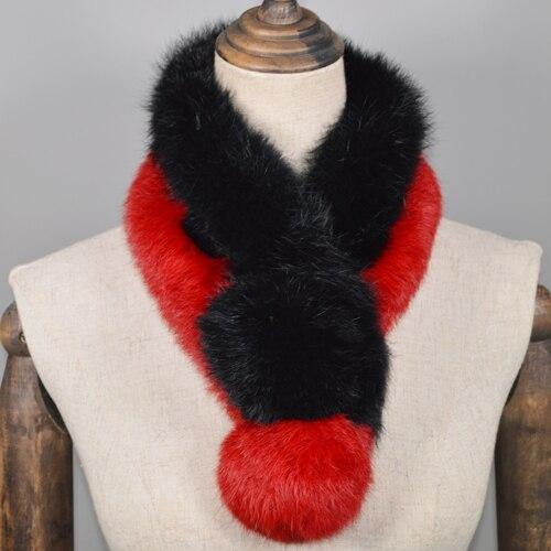 Real Rabbit Fur Scarf Genuine Rabbit Fur Warm Soft Neckerchief Lady Handmade Real Rabbit Fur Ring Scarves