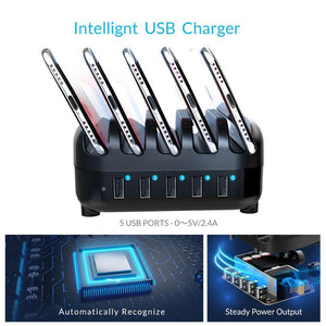 5 Port USB Charger Station Dock with Holder 40W 5V2.4A*5 USB Charging for iphone pad PC Kindle Tablet