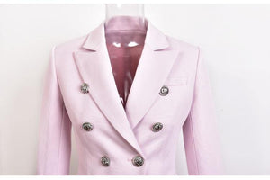 Fashion Thick Fabric Women Elegant Baby Pink Blazers Slim Casual Buttons Jackets Trend Quality Blazer