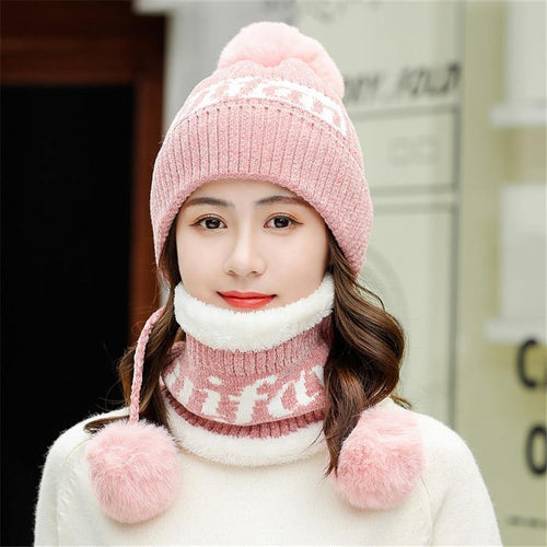 Winter Chenille Knit Hats Women Warm Three Hair Ball Skullies Wool Hat Lady Cute Velvet Thick Sets 2 Bonnet Cap with Bib