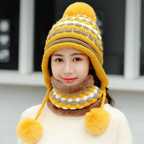 Two-piece Velvet Hats women 3 Hair Ball Knit Bib Warm Beanies Hat Female Windproof Wool Bonnet Riding Caps Sets