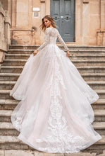Load image into Gallery viewer, Elegant Long Sleeve Lace A Line Wedding Dresses With Detachable Train Buttons Back Bride Dress Wedding Gowns