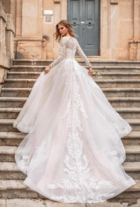 Elegant Long Sleeve Lace A Line Wedding Dresses With Detachable Train Buttons Back Bride Dress Wedding Gowns