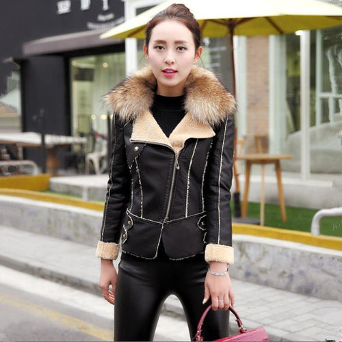 Women Leather Jacket Fleece Fur Coat Fashion Fur Collar Faux Leather Jackets Female Outerwear High Quality