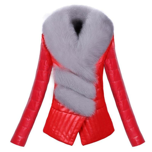 Warm thick PU leather jacket slim long-sleeve short  Outerwear Faux fox fur collar female leather jacket clothing