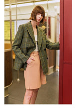 Load image into Gallery viewer, Woolen Blazer Double-breasted Coat jacket women Elegant slim checked ladies office outer Work Wear - moonaro