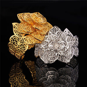 Vintage Big Bracelets Cuff Bangles And Ring Set Gold Color Exquisite Pattern Flower Jewelry Set For Women Wedding Gift