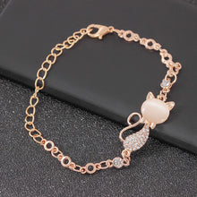 Load image into Gallery viewer, Rose Gold Cute Zircon Cat Bracelets Charms Bracelets Bangle for Women Children Girl DIY Jewelry Gifts