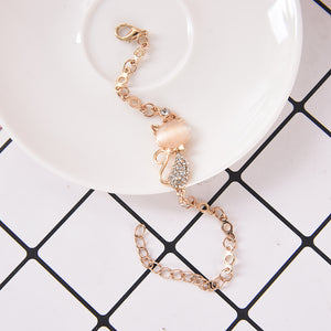Rose Gold Cute Zircon Cat Bracelets Charms Bracelets Bangle for Women Children Girl DIY Jewelry Gifts