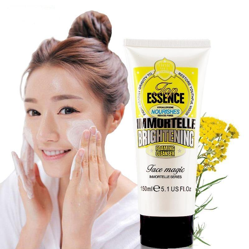 Immortelle Essence Foaming Facial Cleanser Brighten Whitening Face Wash Skin Care Moisturizing Remove Pores Anti Acne