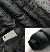 Load image into Gallery viewer, Men's Winter Parka Patchwork Wadded Jacket with Earphone Cables Casual Warm Hooded Cotton-Padded Coat Windproof