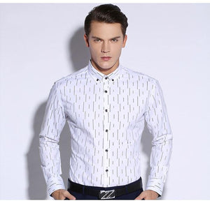 Men's Standard-Fit Oxford Button Down Collar Dress Shirt with Vertical Striped Print Long Sleeve Easy Care Smart Casual Shirts