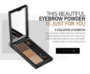 3 Colors Eyebrow Powder Palette Eye Brow Makeup Kit For Brows And High Nose Waterproof Long Lasting Eyebrow