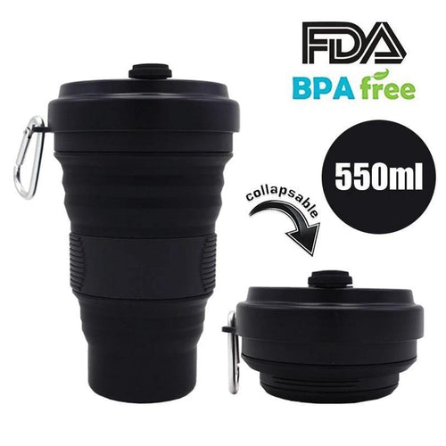 550ml Folding Silicone Cup Mugs Portable Silicone Telescopic Drinking Collapsible Silica Coffee Cup With Lids Travel