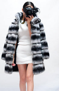 Winter Jacket Women Real Fur Coat Natural Rex Rabbit Fur Thick Warm Streetwear Casual Striped Stand Collar Luxury - moonaro