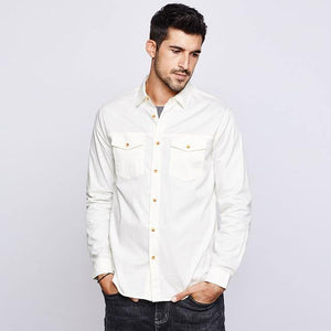 Autumn Cotton Embroidery White Shirt Men Dress Button Casual Slim Fit Long Sleeve For Male Fashion Brand Blouse