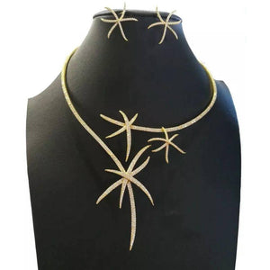 Luxury Starfish Necklace Earring Set Jewelry Sets For Women Wedding Engagement