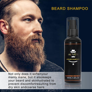 Beard Care Set Bear Oil Beard Wax Cream Balm Cleaning Liquid Beard Brushes Combs