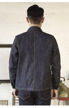Load image into Gallery viewer, cotton denim jacket casual stylish raw unwashed storm rider denim coat