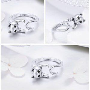 100% Real 925 Sterling Silver Cute Pet Cat Finger Rings Latest Luxury Popular Cat Openings Ring Style Excellent Creative