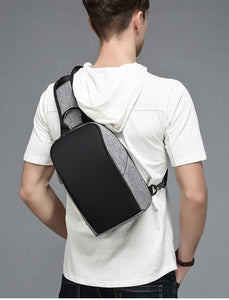 Casual Crossbody Bag for Men 9.7 inch iPad Messenger Bags with USB Charging Port Chest Pack Male