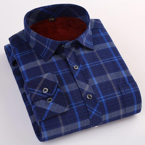 Winter Warm Smart Casual Plaid Velvet Shirt Brand Long Sleeves Shirts High Quality Men Striped Turn-down Collar Shirt