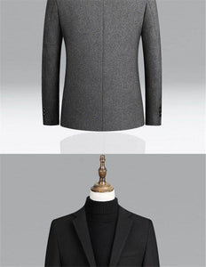 Men Wool Blends Coat Solid Color High Quality Men's Wool Blazer Luxurious Wool Blends Jacket Male