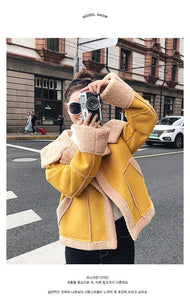 Yellow Shearling Sheepskin Coats Women Autumn Winter Women's Patchwork Lambs Wool Sedue Biker Faux Fur Leather Suede Jackets