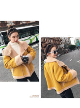 Load image into Gallery viewer, Yellow Shearling Sheepskin Coats Women Autumn Winter Women's Patchwork Lambs Wool Sedue Biker Faux Fur Leather Suede Jackets