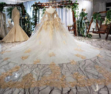 Load image into Gallery viewer, women wedding dresses with sleeve shawl applique luxury formal wedding party dresses robe de mariage