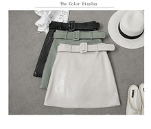 Load image into Gallery viewer, High Quality PU Leather Skirt With Belt Beige Green Black A Line Mini Skirt Women