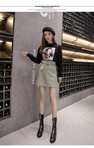 High Quality PU Leather Skirt With Belt Beige Green Black A Line Mini Skirt Women