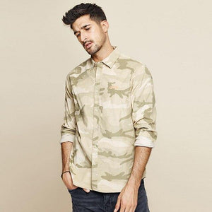 Autumn 100% Cotton Camouflage Embroidery Shirt Men Dress Casual Slim Fit Long Sleeve For Male Fashion Blouse
