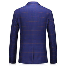 Load image into Gallery viewer, Burgundy Blue Plaid Blazer Men Slim Fit Single Button One Split Blazer Uomo Stylish Mens Casual Blazers 5XL Spring Autumn