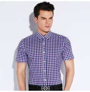 Men's Summer Short Sleeve Casual Plaid Checkered Shirts Comfortable Cotton Standard-fit Button-down Collar Thin Gingham Shirt