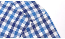 Load image into Gallery viewer, Men's Summer Short Sleeve Casual Plaid Checkered Shirts Comfortable Cotton Standard-fit Button-down Collar Thin Gingham Shirt