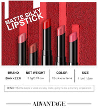 Load image into Gallery viewer, Lipstick Matte Silky Lips Makeup Waterproof  Velvet Lip Stick 12 Colors Rich Color Tint Lipstick Pen Beauty Cosmetic