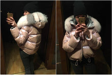 Load image into Gallery viewer, winter jacket women real fur coat natural fox fur collar loose short coat sliver white duck down jacket korean clothing