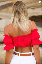 Load image into Gallery viewer, sleeve sexy strapless beach tops plus size red black white ruched crop top tank top