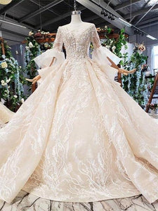 luxury wedding dress with royal train flare sleeve backless pleat beading bridal dresses vestidos de noiva