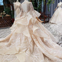 Load image into Gallery viewer, luxury wedding dress with royal train flare sleeve backless pleat beading bridal dresses vestidos de noiva