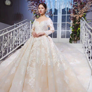 long sleeve wedding dress with detachable train illusion o-neck luxury lace wedding gown new vestido de noiva manga longa