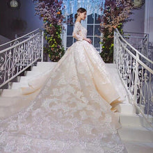 Load image into Gallery viewer, long sleeve wedding dress with detachable train illusion o-neck luxury lace wedding gown new vestido de noiva manga longa