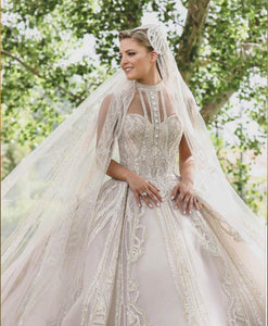 Luxury Wedding Dresses Gorgeous Sparkly High Neck Illusion Top Wedding Gowns Robe De Mariee