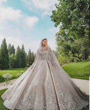 Load image into Gallery viewer, Luxury Wedding Dresses Gorgeous Sparkly High Neck Illusion Top Wedding Gowns Robe De Mariee
