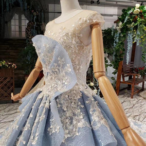light blue evening dress long appliques o-neck cap sleeves polyester tulle special evening gown vestido longo festa noite