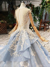 Load image into Gallery viewer, light blue evening dress long appliques o-neck cap sleeves polyester tulle special evening gown vestido longo festa noite