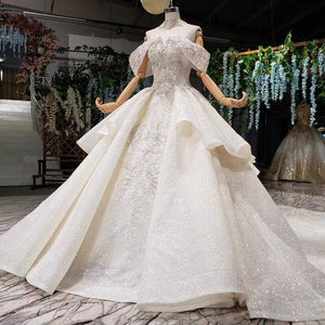princess wedding dresses off shoulder bead collar chain shiny wedding gown royal train vestido de noiva