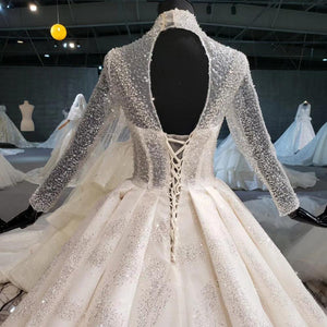 wedding dress ball gown princess high neck long sleeve sequined lace boho wedding with train suknia slubna